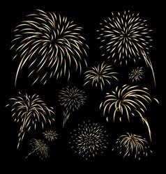 gold fireworks design on black background vector image vector image