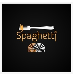 Spaghetti Pasta On Fork Label Background vector image