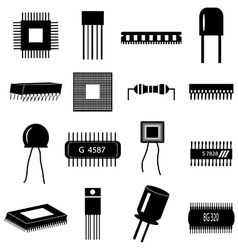 electronic circuit parts icons set vector image