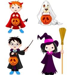Halloween trick or treating children vector image