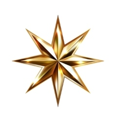 hand drawing gold star with eight rays elegant vector image vector image