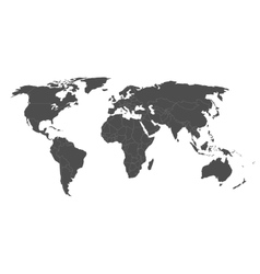 map of world in grey with white borders vector image vector image
