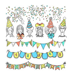 Party freehand doodles vector