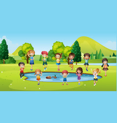 boys and girls standing round the pond vector image vector image