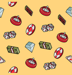 casino flat outline isometric pattern vector image
