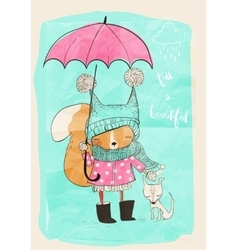 cute girl with dog and umbrella vector image vector image