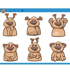 dog emotions cartoon set vector image vector image