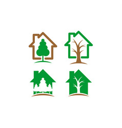 home and tree logo vector image