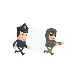 police trying to catch a criminal vector image vector image