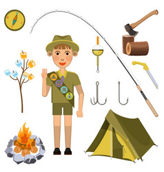 Scout boy with hand honor sign near camp equipment vector