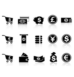 black Currency icons set vector image vector image