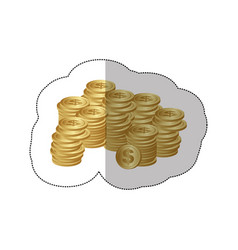 color silhouette sticker of stacked coins vector image