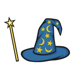 Hat of the wizard and magic stick vector