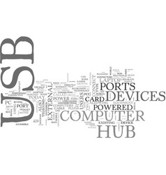 what s a usb hub text word cloud concept vector image