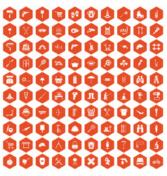 100 tackle icons hexagon orange vector