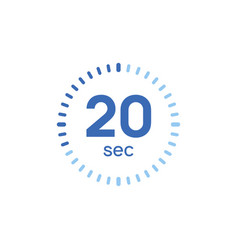 20 second timer clock 20 sec stopwatch icon vector