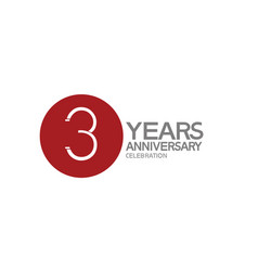3 years anniversary logotype design with big red vector