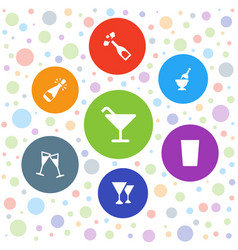 7 champagne icons vector