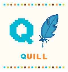 alphabet for children letter q and a quill vector image