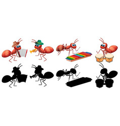 Ant musical band with its silhoulet vector