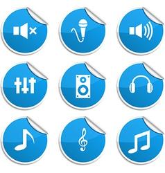 Audio stickers vector image