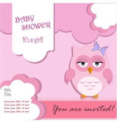 Baby shower for girl with owl vector image