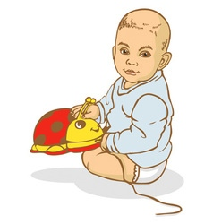 baby sitting with toy vector image