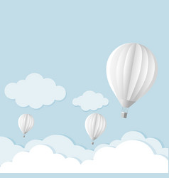 balloon in the sky with clouds flat cartoon vector image