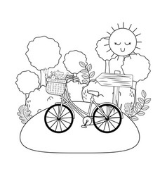 bicycle with basket and flowers in the landscape vector image