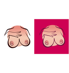 big boobs isolated on white and pink color vector image