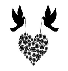 Birds with a heart of flowers 6 vector