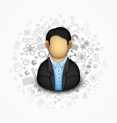 Businessman on the background of many icons vector