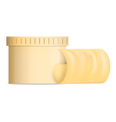 butter yellow jar mockup realistic style vector image