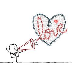 Cartoon man with megaphone and calligram heart vector