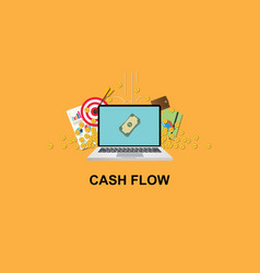 Cashflow concept with laptop and money om screen vector