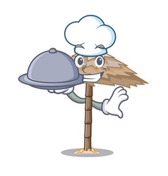 Chef with food beach shelter under the umbrella vector
