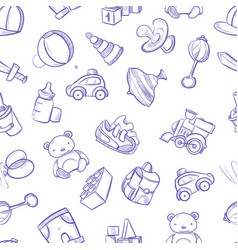 Children doodle background with toys cute vector