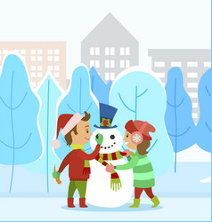 Children making snowman together in winter park vector
