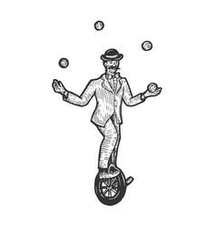 Circus juggler engraving sketch vector