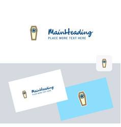 Coffin logotype with business card template vector