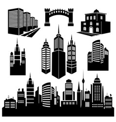 Collection of silhouettes of city images vector