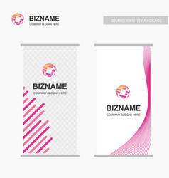 Company ads banner unique design with world map vector