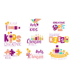 Creative kids logo set arts centre colorful vector