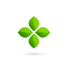 Cross plus eco leaves medical logo icon design vector