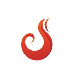 curvy flame fire symbol design vector image