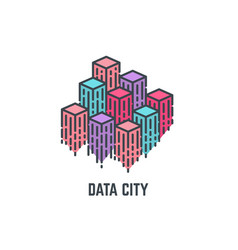data city skyscrapers vector image
