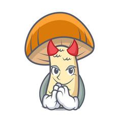 Devil orange cap boletus mushroom mascot cartoon vector