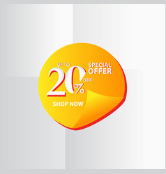 Discount label up to 20 special offer shop now vector