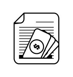 document paper file money bill dollar line vector image