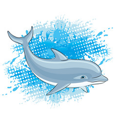 Dolphin and water splash vector